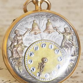 JACQUEMARTS AUTOMATON Quarter REPEATER VERGE FUSEE Gold Antique Pocket Watch