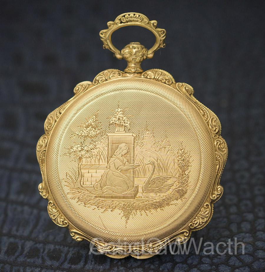 Antique Swiss hunter golden pocket watch with beautiful engravement