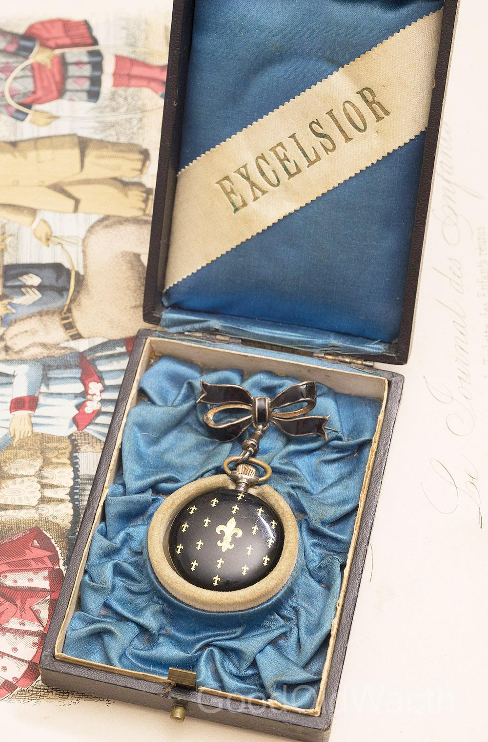 Antique Swiss Sterling SILVER & GOLDEN LILY ENAMEL Pocket or Pendant Lady Watch with Brooch in Original Box - Royal Memorabilia