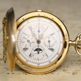 Heavy-Quarter-Repeating-Triple-Calendar-Chronograph-Antique-Pocket-Watch-in-Golden-Case