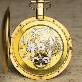 Virgule Escapement Skeletonized Quarter Repeating Pocket Watch by Dubois et Fils