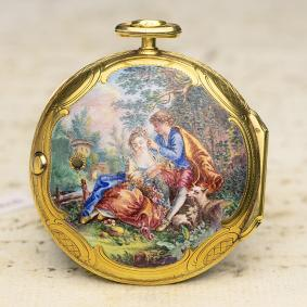 GOLD & ENAMEL PAINTING London British Fusee Antique Pocket Watch - non verge