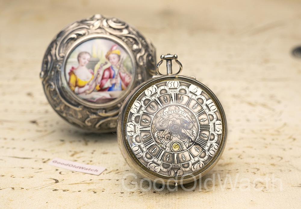 1720s Painted Enamel Miniature Pair Cased Verge Fusee Antique Pocket Watch MONTRE COQ SpindelTaschenuhr