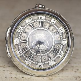 DANIEL-QUARE---1700s-Pair-Cased-Verge-Fusee-British-Antique-Pocket-Watch