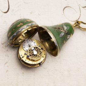 Miniature PEAR SHAPE 18k GOLD & ENAMEL VERGE FUSEE Antique Pocket Watch