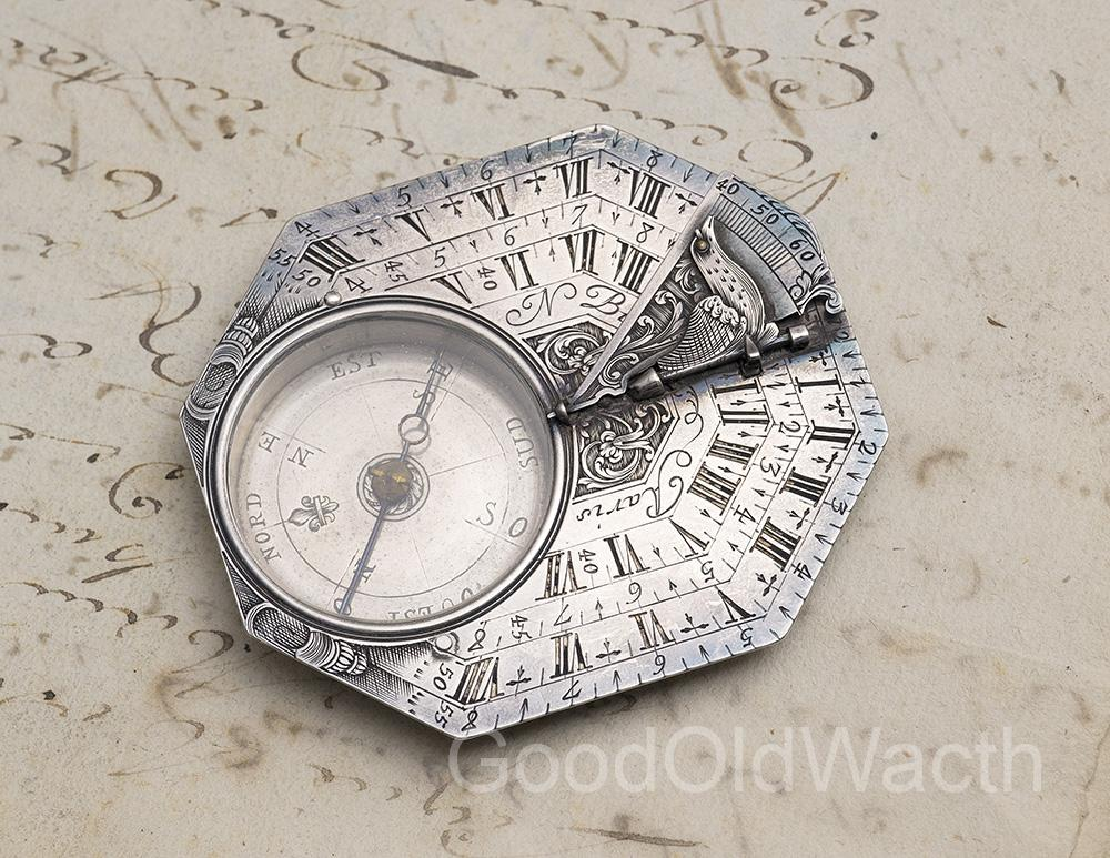 Early XVIII Octagonal Silver Antique Pocket Sundial by NICOLAS BION in Paris