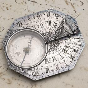 Early-XVIII-Octagonal-Silver-Antique-Pocket-Sundial-by-NICOLAS-BION-in-Paris