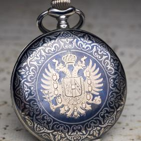 AUSTRIAN-IMPERIAL-PRESENTATION-WATCH---Niello-Silver-Antique-Pocket-Watch