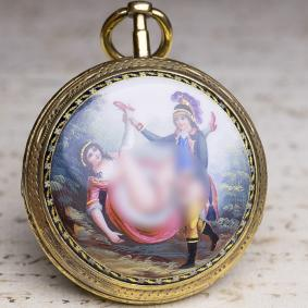 EROTIC ENAMEL PAINTING Verge Fusee Antique Pocket Watch Montre Coq