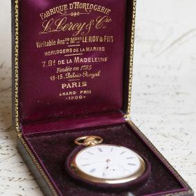 High Grade Gold Antique Pocket Watch by LEROY et Cie - as new