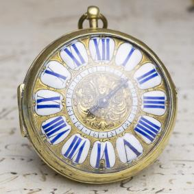 1690s-LOUIS-XIV-OIGNON-Verge-Fusee-Antique-Pocket-Watch-MONTRE-COQ