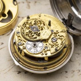 1750s HALF QUARTER 1/8 REPEATING CYLINDER FUSEE Pair Cased Antique Repeater Pocket Watch - non verge!