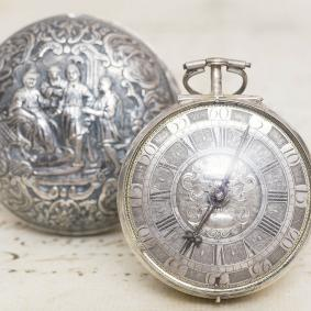 1700s CHAMPLEVE SILVER DIAL REPOUSSE PAIR CASE Verge Fusee Antique Pocket Watch
