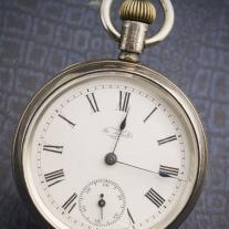 American silver pocket watch by Waterbury with duplex escapement