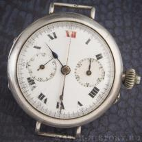 One of the first of wrist chronographes, 1915. Silver case