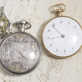 Beautiful Pair of Jaquemart Automaton Repeater and Three Hammer Carillon Repeater Pocket Watches