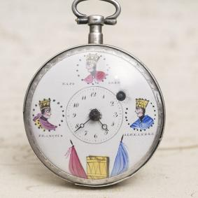 THREE EMPERORS - NAPOLEON COMMEMORATIVE VERGE FUSEE Antique Pocket Watch