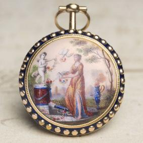 PAINTED ENAMEL Solid 18k GOLD Verge Fusee Antique Pocket Watch