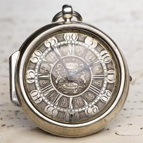 1700s-Pair-Cased-Champleve-Dial-Verge-Fusee-British-Antique-Pocket-Watch