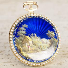 1790s CHINESE MARKET GOLD & ENAMEL PAINTING Antique Pocket Watch