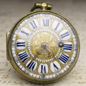 1700s LOUIS XIV OIGNON Verge Fusee Antique Pocket Watch MONTRE COQ
