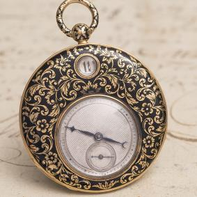 Antique 1820s 18k Gold & Enamel JUMPING DIGITAL HOURS Flat Pocket Watch