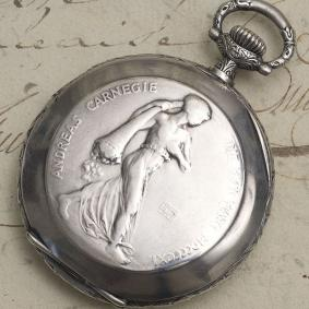 Rare Antique Silver LONGINES - Carnegie Hero Fund Commemorative Pocket Watch