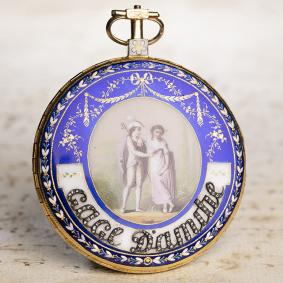 GOLD--ENAMEL-PAINTING-Verge-Fusee-Antique-Pocket-Watch-with-Presentation