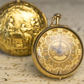 1735 Repousse Pair Case Antique Verge Fusee Pocket Watch