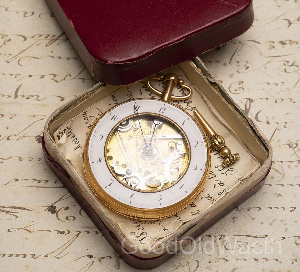 NAPOLEON GIFT LEGEND: SKELETONIZED REPEATER Verge Fusee Antique Repeating Pocket Watch