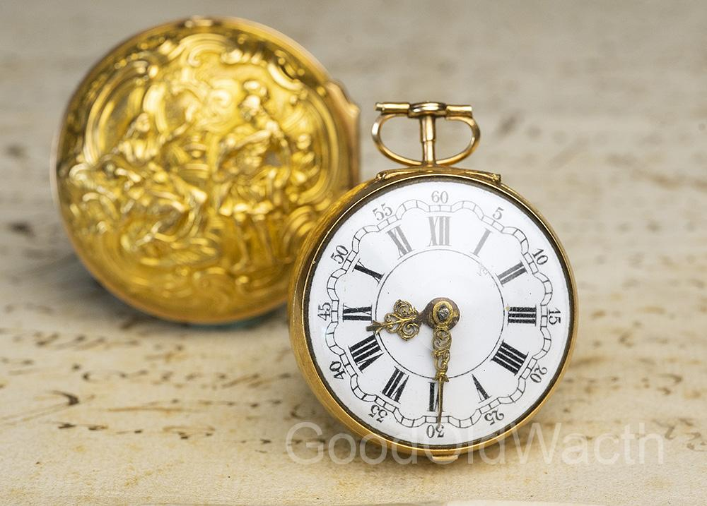 1763 Repousse Pair Case Antique Verge Fusee Pocket Watch