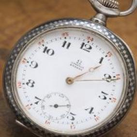 Antique Niello Sterling Silver OMEGA Pocket Watch