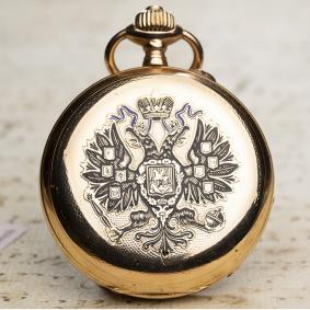 PAUL BUHRE RUSSIAN IMPERIAL PRESENTATION Antique Pocket Watch 14k Gold & Enamel Case