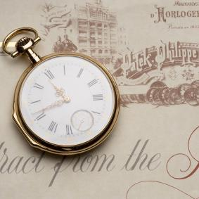 PATEK PHILIPPE Gents Gold Pocket Watch with EXTRACT FROM ARCHIVES