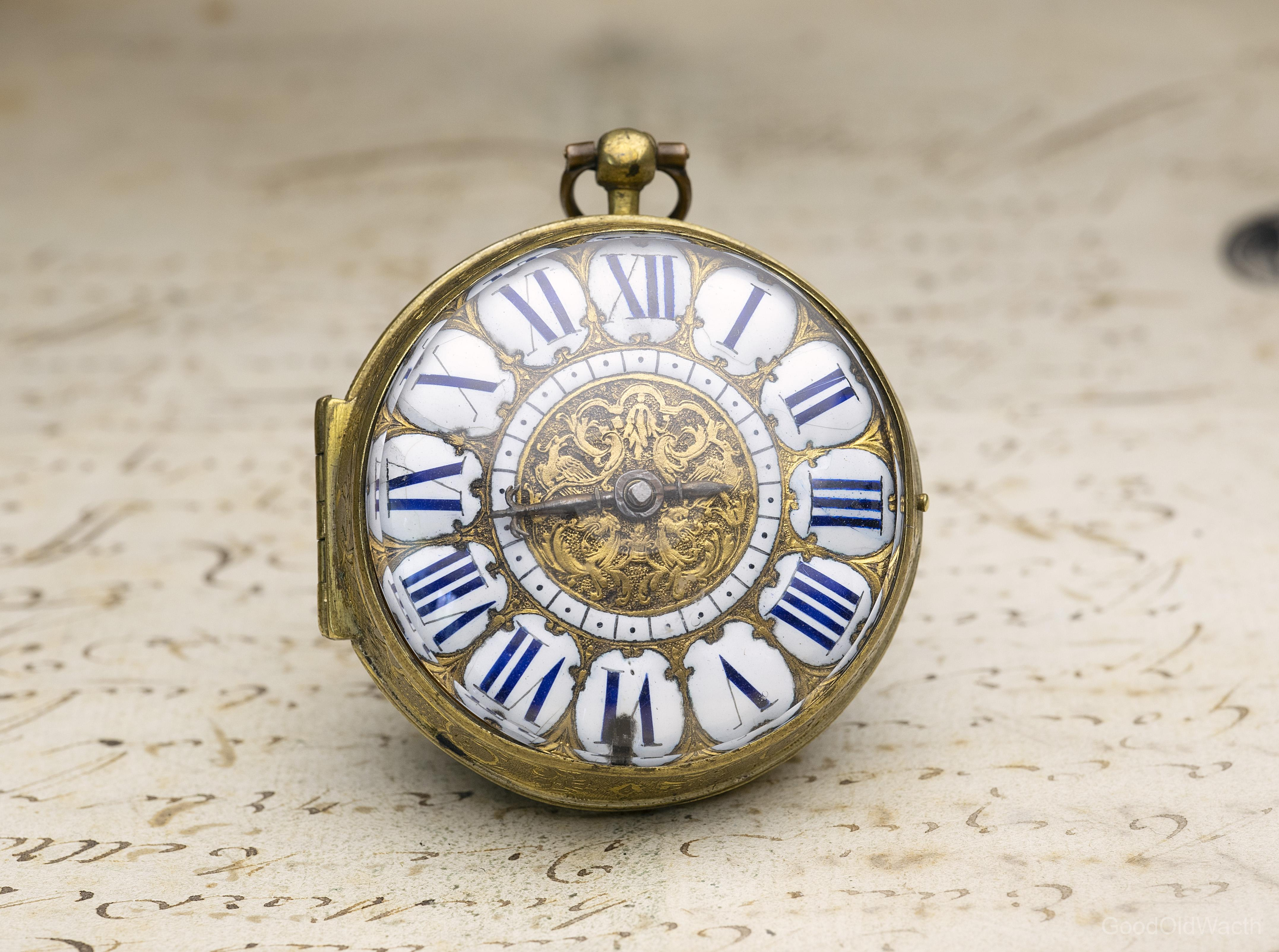1690s LOUIS XIV OIGNON Verge Fusee Antique Pocket Watch MONTRE COQ by DuChesne in Paris