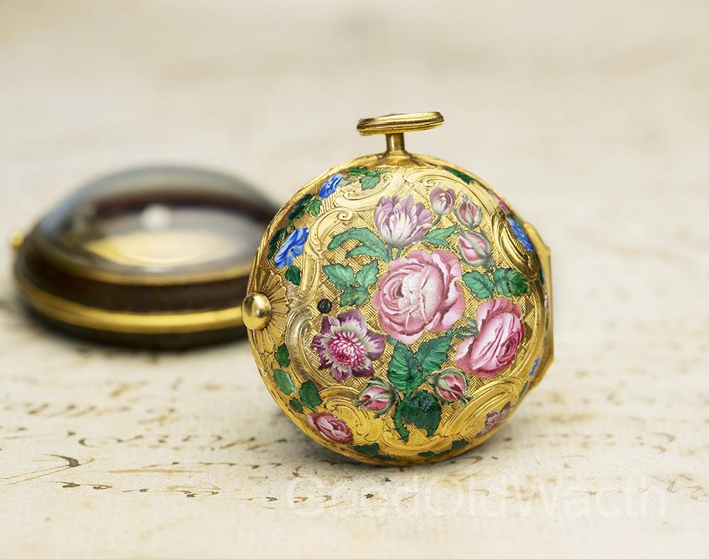 GOLD & CHAMPLEVE ENAMEL Verge Fusee Antique Pocket Watch from middle of XVIII c.