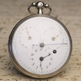 VIRGULE ESCAPEMENT Pocket Watch with Calendar and Centre Second