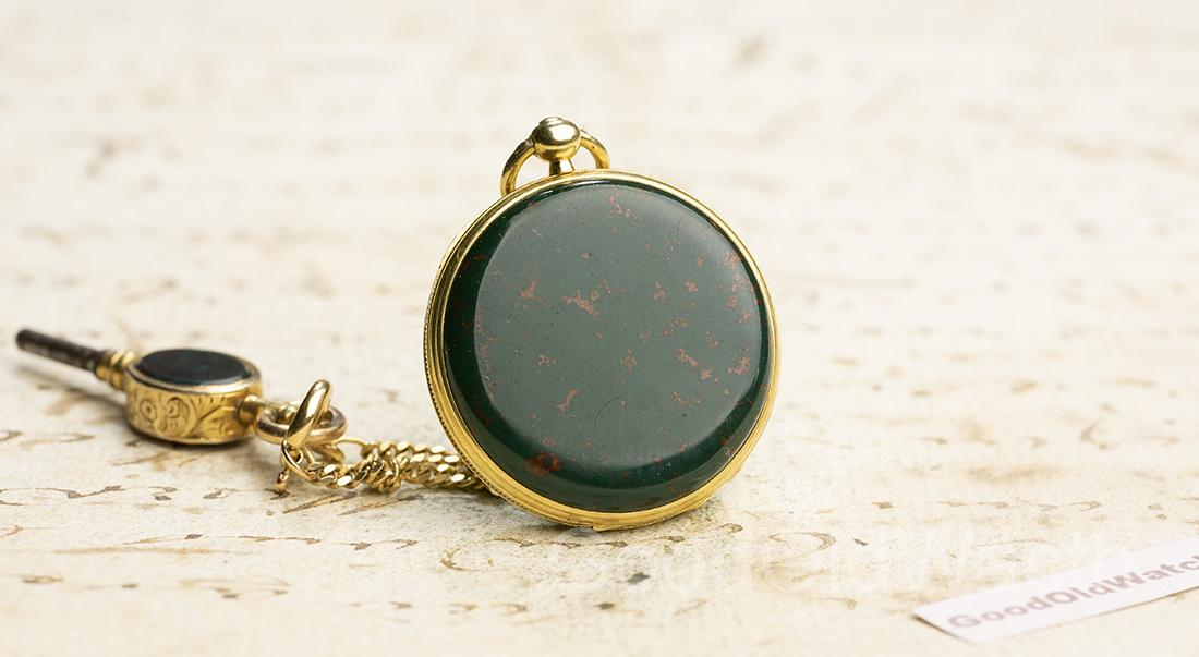 BLOODSTONE & 18k Gold Lady Miniature Antique Pocket Watch w/ key in Box