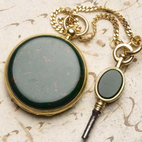BLOODSTONE--18k-Gold-Lady-Miniature-Antique-Pocket-Watch-w%2F-key-in-Box