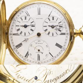 GIRARD PERREGAUX - TRIPLE TIMEZONE 18k Gold Antique Pocket Watch for American Market