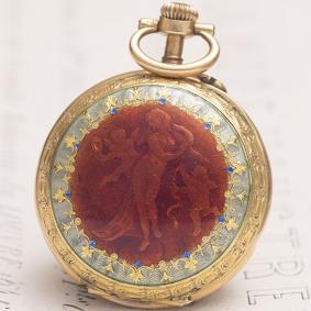 Antique 18k GOLD & ENAMEL French Pocket or Pendant Lady Watch