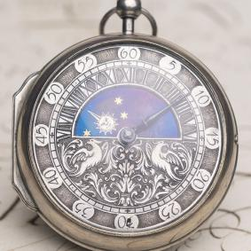 DAY-AND-NIGHT OIGNON Verge Fusee Antique Pocket Watch from LATE XVII 1690-1700