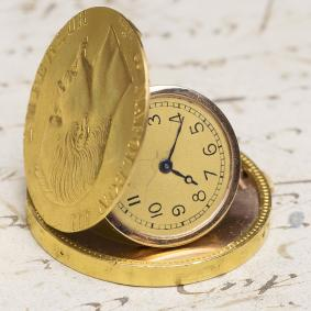 100 GOLDEN FRANCS COIN Concealed Pocket Watch c. 1910 HAAS NEVEUX - Stamped with GENEVA SEAL