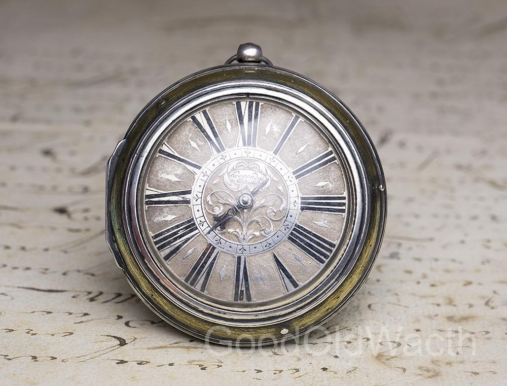 EARLY 1660s SELF STRIKING Single Handed Verge Fusee OIGNON Antique Pocket Watch - Pair Cased