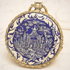 Antique Swiss GOLD &CHINOISERIE ENAMEL Pocket Watch by ROCHAT FRERES