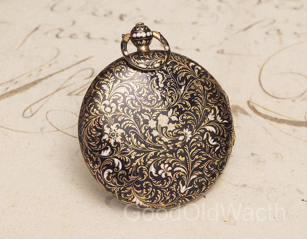 Antique 1800s 18k GOLD & CHAMPLEVE ENAMEL VERGE FUSEE Pocket Watch