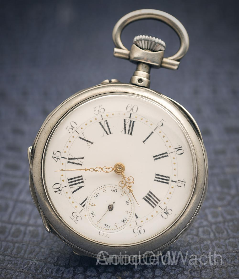 Antique Sterling Silver Pocket Watch with LeCoultre