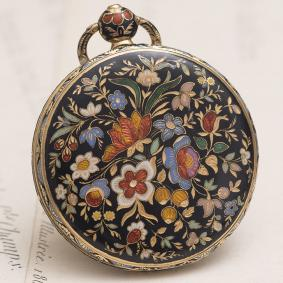 Antique 18k GOLD & CHAMPLEVE ENAMEL Pocket or Pendant Lady Watch  1830s