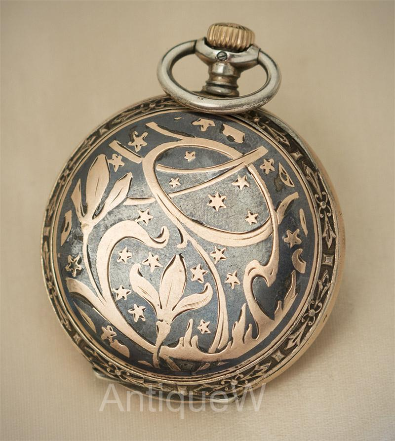 Silver and enamel Longines pocket watch. Art Nouveau style.