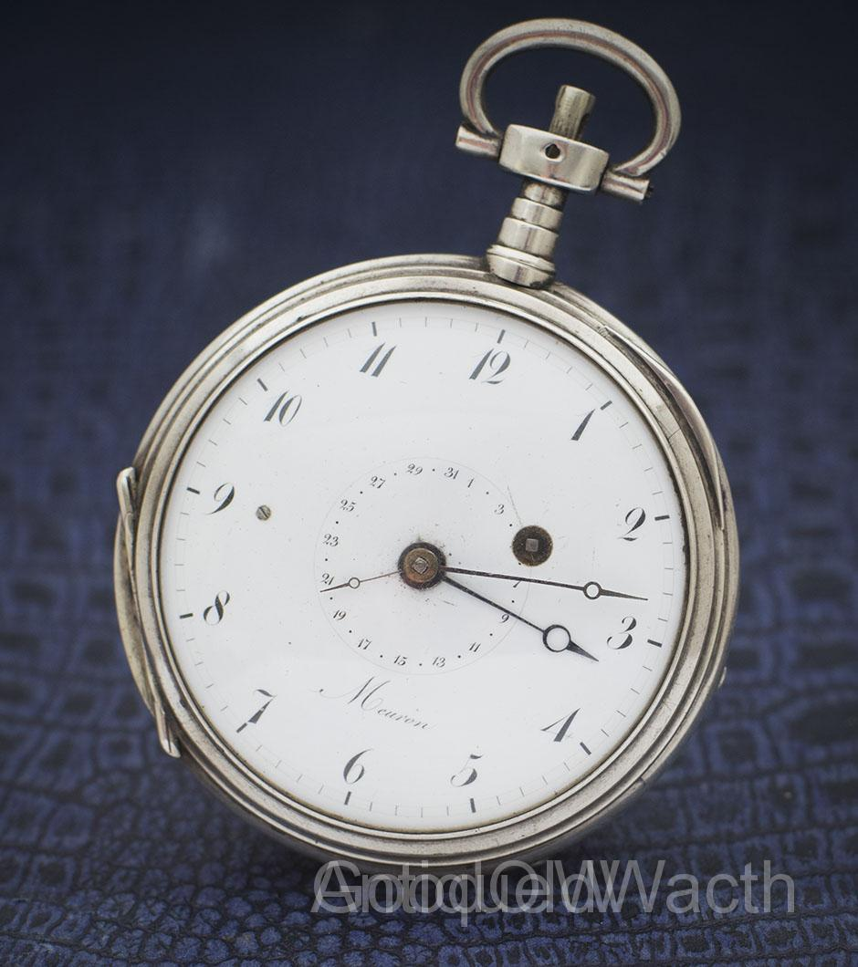 SIlver watch with quater repeating and date with verge escapement